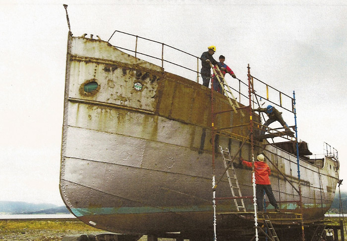 First stages of restoration of the historic Norwegian vessel.